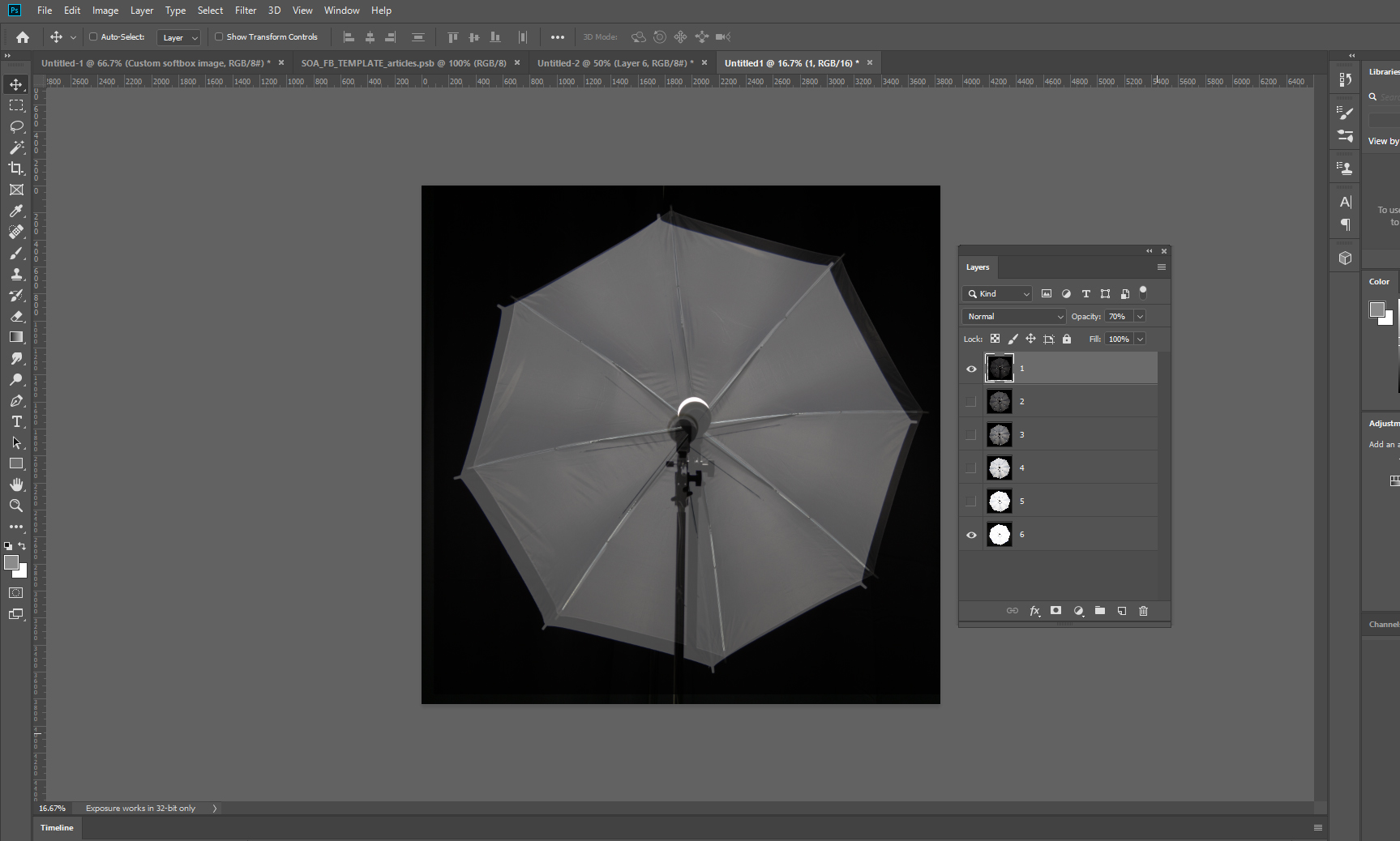 Custom softboxes: aligned photos